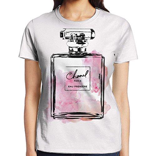 - Anutknow Pink Perfume Bottle Paris Logo Women's Casual Round Neck Short-Sleeved T-Shirt