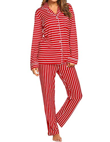 Ekouaer Plus Size Pajama Set Girl's Cute Sleepwear Comfy Long Top and Pants Suit (Red,XXL) -