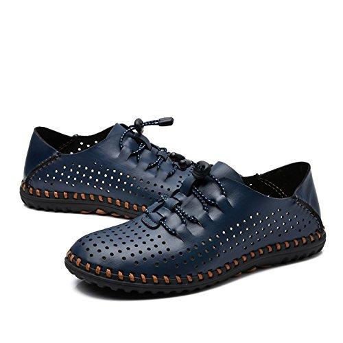Chaussures à Lacets en Cuir Véritable pour Hommes D'été Sandals Business Hollow Respirant Creux Chaussures Blue r7dQ8pJ