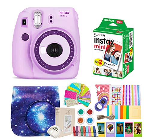 Fujifilm Instax Mini 9 Camera + Fuji Instax Mini Film +Polaroid Camera Instax Mini 9 Purple+ Instax Mini 9 Case + Instax Accessories Kit Bundle, Instant Camera Gift Sets - Light Purple