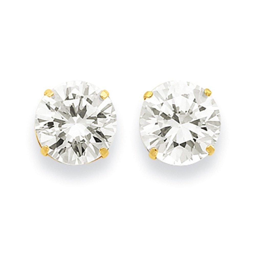 Lex /& Lu 14k Yellow Gold 10mm Round CZ Post Earrings