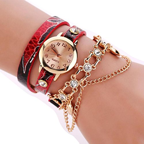 BEUU 2018 New Serpentine Necklace Around The Watch Woman Leather Rhinestone Rivet Chain Quartz Bracelet Wristwatch Stainless Vintage Ladies Gold Watch Women Men Fashion (A)