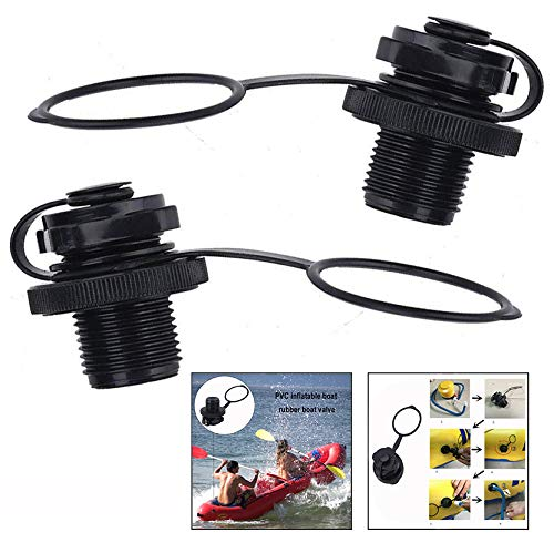 Xrten Inflatable Boat Valve,Spiral Air Plugs Replacement Screw for Inflatable Boat Fishing Boats Raft Airbed, 2 Pcs Black