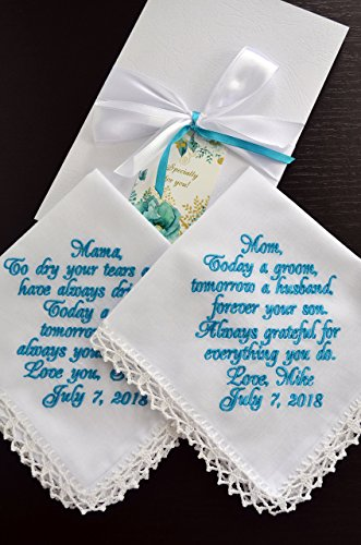 Wedding handkerchief set Wedding gift for Mother of the Bride from daughter, Mother of the Groom from son, Wedding keepsake Personalized hankies Embroidered hankie Wedding favours ()