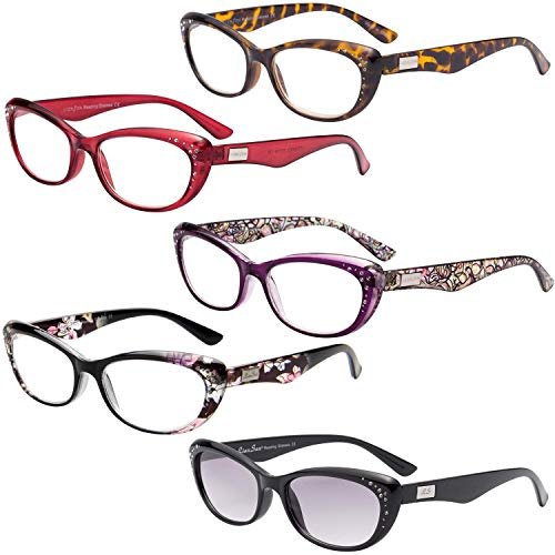 LianSan 5 Pairs Fashion Cat Eye Rhinestones Reading Glasses with Sunglasses Readers for Women L3705 +2.25