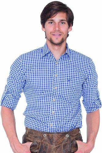Krüger BUAM Herren Slim Fit Trachtenhemd 951, Gr. Medium, Mehrfarbig (blau/weiß 108)