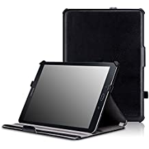 MoKo Samsung Galaxy Tab S2 9.7 Case - Genuine Leather Slim-Fit Multi-angle Folio Cover Case for Samsung Galaxy Tab S2 9.7 Android 5.0 2015 Version, BLACK