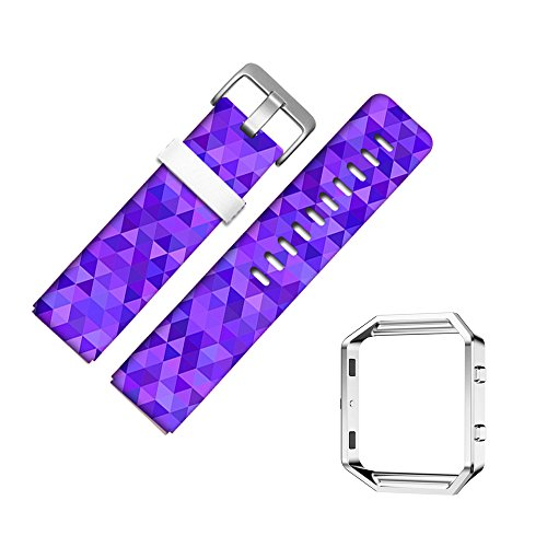 (For Fitbit Blaze Accessory Band for Women Men, Frame Housing+Genuine Leather Art Pattern Replacement Strap for Fitbit Versa Fitness Wristband-619.Purple, Triangle, Purple Art Pattern, Mosaic, Tile)