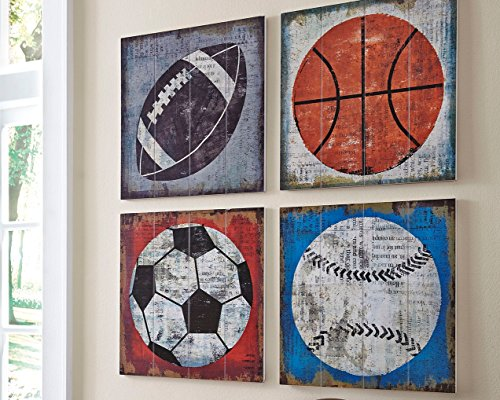 Ashley Furniture Signature Design - Dessa Sports Themed Wood Wall Panels - Set of 4 - Gen Now - Multi-Colored by Signature Design by Ashley (Image #1)
