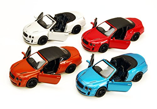 2010 Bentley Continental Supersports Convertible, SET OF 4 - Kinsmart 5353D - 1/38 scale Diecast Model Toy Cars