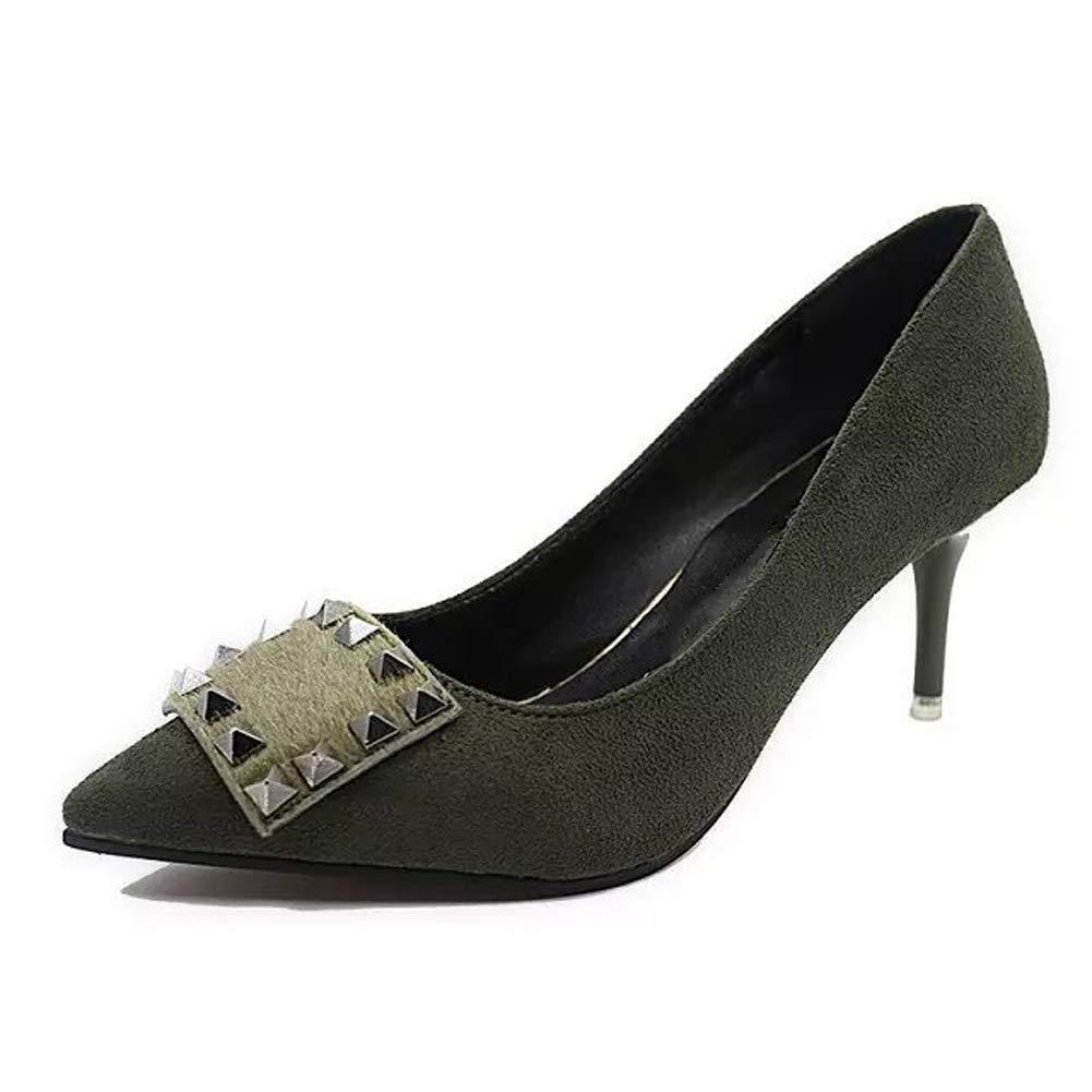 HLG Frauen nackt Mode elegante Stiletto flachen Mund einzelne Schuhe Niet Wildleder elegante Gericht Schuhe