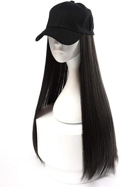 Gorra de béisbol negra HOOLAZA para mujer con pelucas rectas largas de color marrón-negro Sombrero de gorra de peluca larga y recta 2 en 1 24 pulgadas: Amazon.es: Belleza