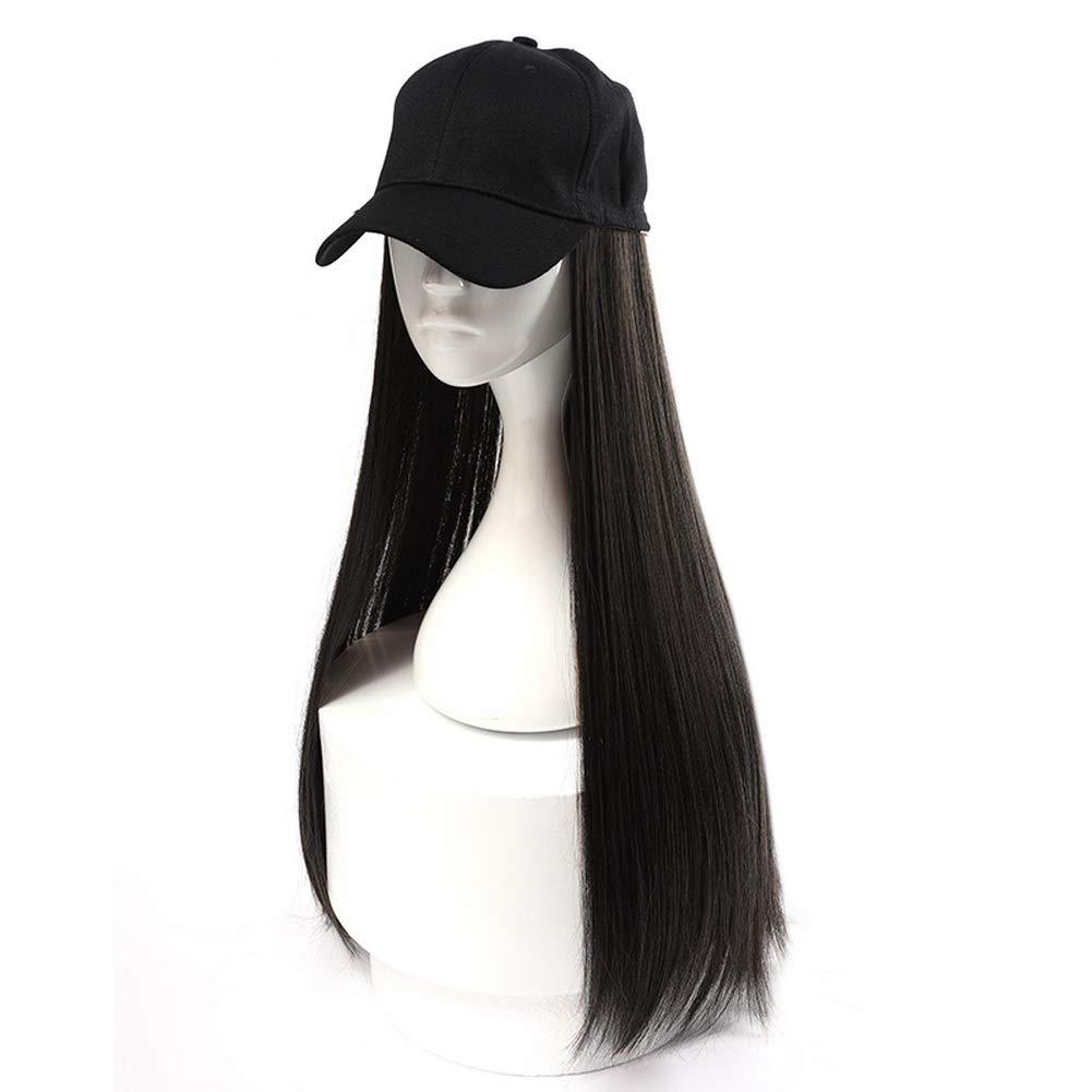 Gorra de béisbol negra HOOLAZA para mujer con pelucas rectas ...