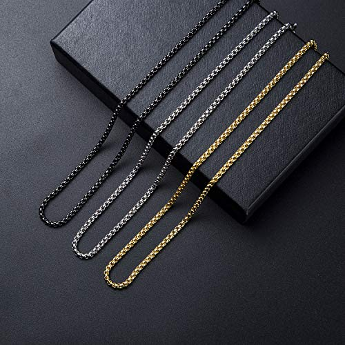 Monily 27mm 1638In Square Rolo Stainless Steel Chain Necklace Round Box Necklace Men Women Jewellery