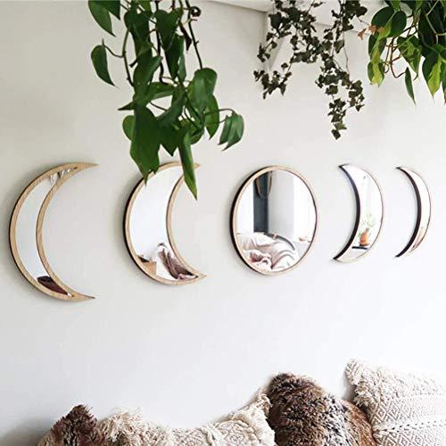 Yousir 5 Piezas Autoadhesivo acrilico Espejo - Pared decoracion - escandinavo Natural decoracion acrilico Fase Lunar Espejos Interior diseno Madera Luna Fase Espejo Bohemio