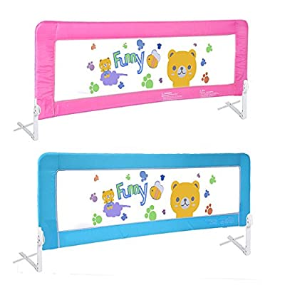"""70"""" Baby Bed Rail Children Extra Long Bed Guard Toddler Safety Fold Down Bedrail Potable Stop Falling Blue Pink Color"""