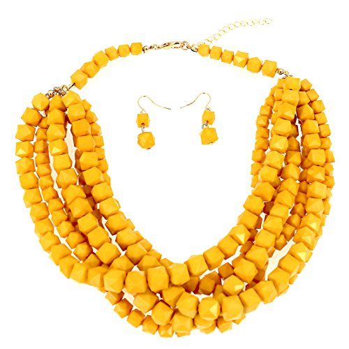 Beaded Yellow Set Jewelry (Comelyjewel Women Fashion Jewelry Red Yellow Layered Beaded Statement Necklace and Earrings Set (Yellow))