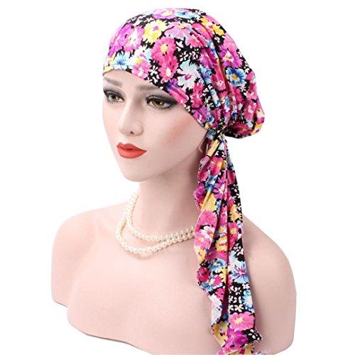 Hat Bowler Velvet (Coohole Retro Bohemian Muslim Stretch Turban Hat Velvet Hair Loss Head Scarf Wrap (Hot Pink))
