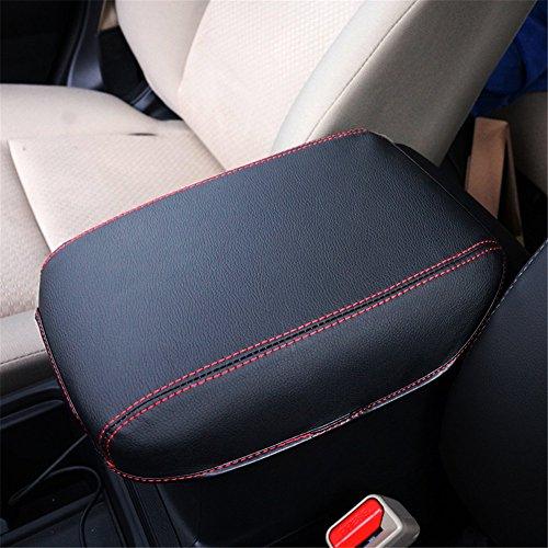 BEHAVE Car Armrest Cover Saver, 1 Piece Armrest Cover Fit for Honda CRV 2013 2014 2015 2016 Central Console Armrest Box CRV (Black with Red Stitches)