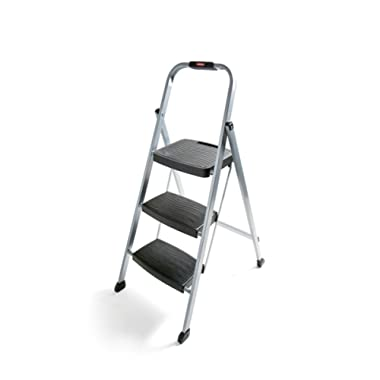 Rubbermaid RM-3W Folding Steel Frame Stool with Hand Grip and Plastic Steps Silver Finish