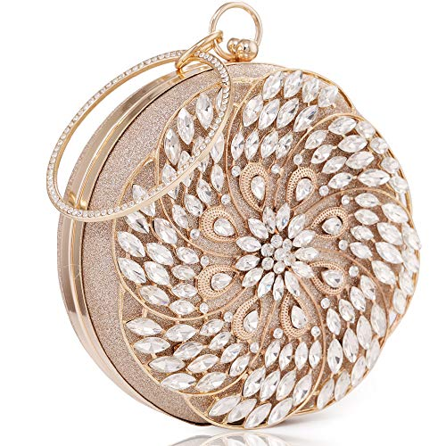 Womens Evening Bag Round Rhinestone Crystal Clutch Purse Ring Handle Handbag For Weddng Prom Party Gold