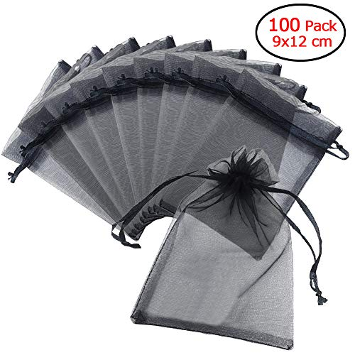Schliersee 3x4 Inches Organza Bags Black Jewelry Drawstring Pouches 100 PCS Favor Gift Bags