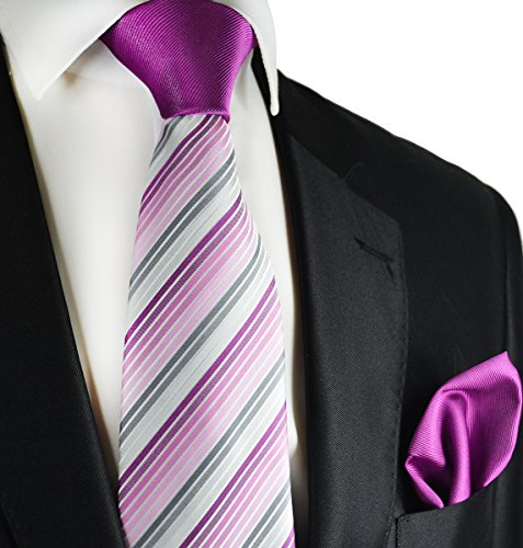 Clover Purple Contrast Knot Tie and Pocket Square by Paul Malone