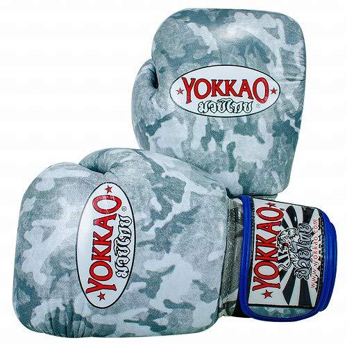 Yokkao Boxing ボクシンググローブ Camo グレー/Yokkao ヨッカオ ブルテリア Bull Terrier ボクシンググローブ 本革仕様 ムエタイ キックボクシング ムエタイ本場タイのブランド B07QY7HQR3  16oz