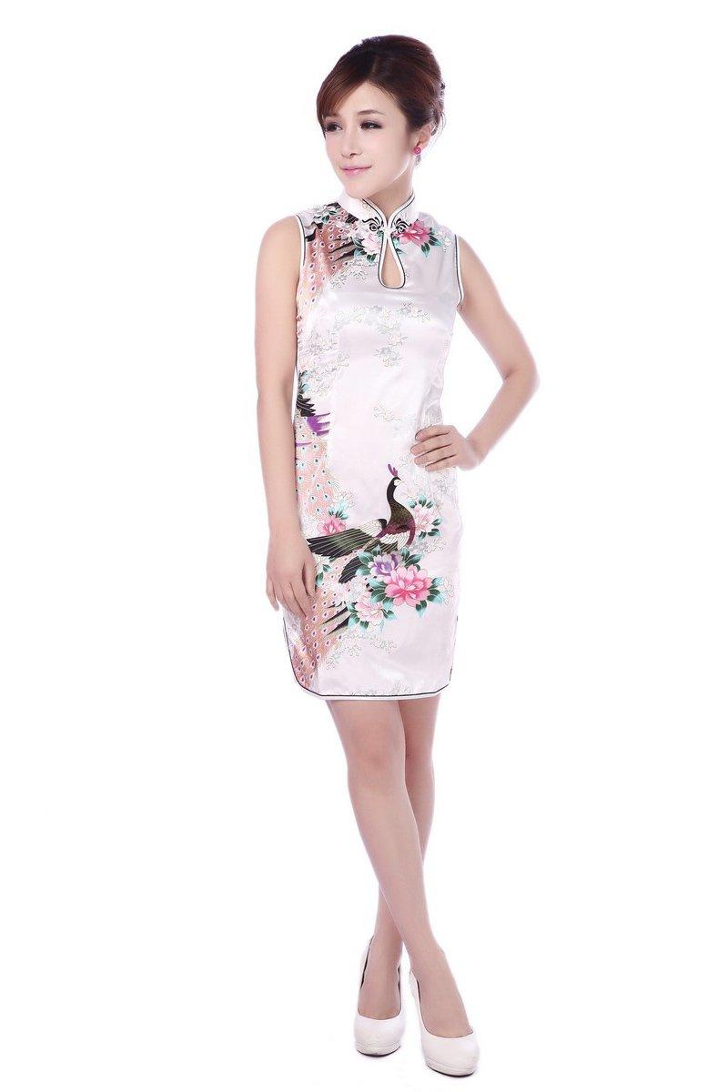 JTC(TM) Cheongsam Chinese Dress Han Costume Sleeveless Qipao Skirt 4colors (8/10, White)