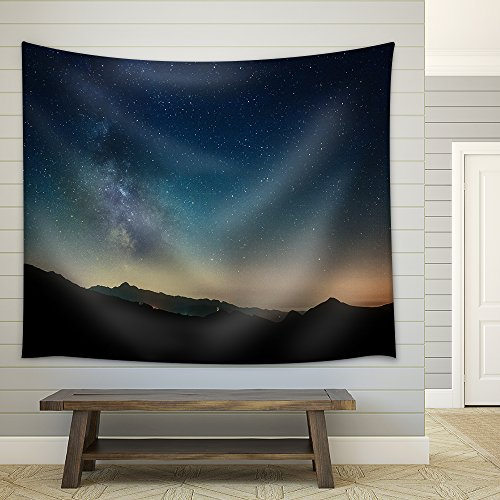 Night Sky Stars with Milky Way on Mountain Background Fabric Wall Tapestry