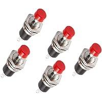 56tiankoou 5 stuks rode cap SPST momentane mini drukknop schakelaar AC250V 1A de