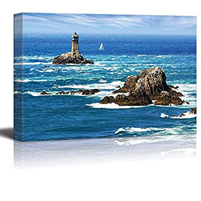 Beautiful Scenery Seascape Lighthouse on Cape Sizun Pointe Du Raz Brittany France - Canvas Art Wall Art - 32