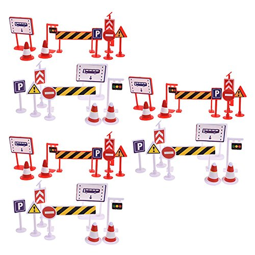 (Bluecell 54 Pieces Street Signs Playset Traffic Signs Playset for Children Play)