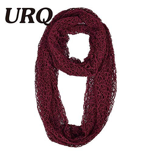0fa0e949c3 HITSAN INCORPORATION URQ Women Ring Scarves Handmade Wraps Hollow Out Short  Mesh Shawl Cover Up Lady loop Scarves Wedding Scarf P7A16874 PA bordeaux:  ...