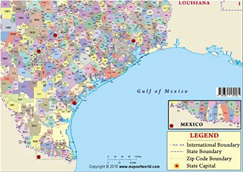 Mexico City Zip Code Map.Amazon Com Texas Zip Code Map Office Products
