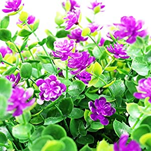 YOSICHY Artificial Flowers, Fake Outdoor UV Resistant Plants Faux Plastic Greenery Shrubs for Outside Hanging Planter Home Kitchen Office Wedding Garden Decor(Fushia) 3