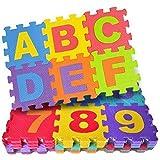 Happy GiftMart 36 Pcs Eva Foam Puzzle Mats Interlocking Learning Alphabet and Number Jigsaw Style Tiles