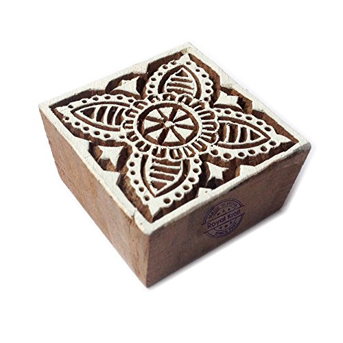 Ornate Square Flower Motif Wood Block Print Stamp - Foam Stamps Flowers