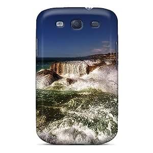 LauraAdamicska Samsung Galaxy S3 Protector Cell-phone Hard Cover Support Personal Customs Nice Sea Waves Crashing On Rocky Shore Pattern [hjy18976kxjs]