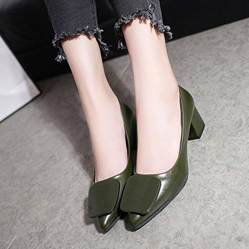 Xue Qiqi luz de la Punta en los Singles Femeninos Zapatos con Gruesas con los Zapatos de Tacón Alto para atrapar Salvajes Ese Zapato Zapatos de Mujer Ejército verde