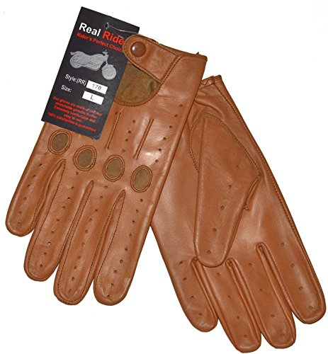 Tan Large Genuine Leather Driving Gloves