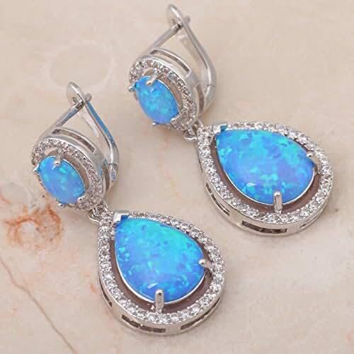 Chokushop Luxury design High Quality Blue Fire Opal Silver sterling 925 Dangle Earrings Fashionl Jewelry*Opal Jewelry OE280