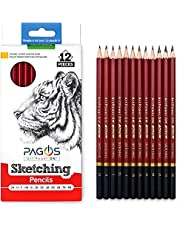 Pagos Professional Sketching Art Pencils – 12 Pieces Graphite Pencils Set for Drawing – 2H, H, F, HB, B, 2B, 3B, 4B, 5B, 6B, 7B, 8B Art Travel Set - Shading Pencils, Art Supplies, Artist Kit for Adults Kids and Artists, Sketching Set