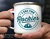 Salt City Sips I Ski The Rockies Enamel Camp Mug, 12 oz. - White Enamel Mug, Silver Rimmed Metal Cup