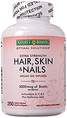 Nature's Bounty Hair Skin and Nails 5000 mcg of Biotin - 250 Coated Tablets Regular & Extra Strength