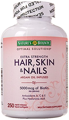 Nature's Bounty Hair Skin and Nails 5000 mcg of Biotin 250 Coated Tablets Regular & Extra Strength