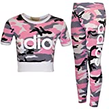 New Kids Girls Adios Camouflage Military Army Crop Top & Legging Age 7-13 Years (Pink, 13 Years)