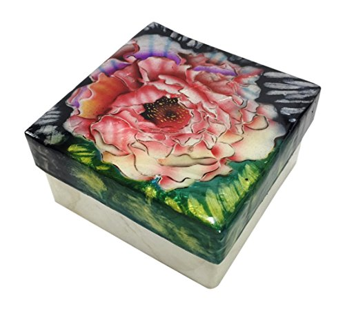 Kuble Craft Pink Peony Flower Blossom Capiz Shell Keepsake Box, 3 Inches - Japan Garden Bouquet