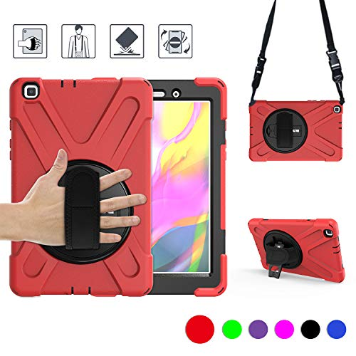 BRAECN Samsung Galaxy Tab A 8.0 2019 Case – Hybrid Shockproof Protective Case with Carrying Shoulder Strap and Rotatable…