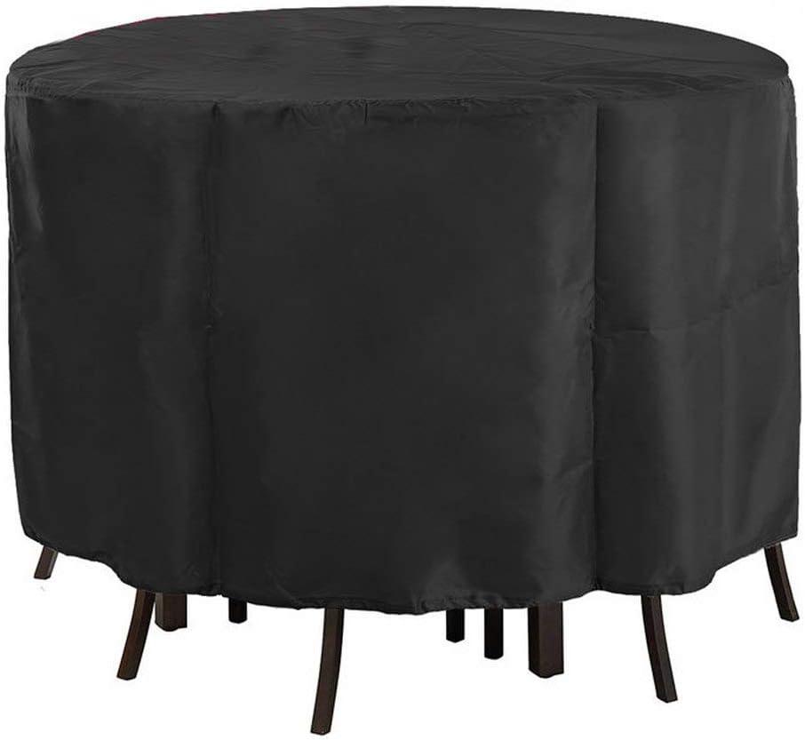 Cubiertas para Muebles De Jardín 210D Oxford Tela Impermeable Cubierta De Mesa De Jardín Veranda Exterior Al Aire Libre Patio Patio Resistente A Los Rayos UV (Diameter 185* High 110CM)
